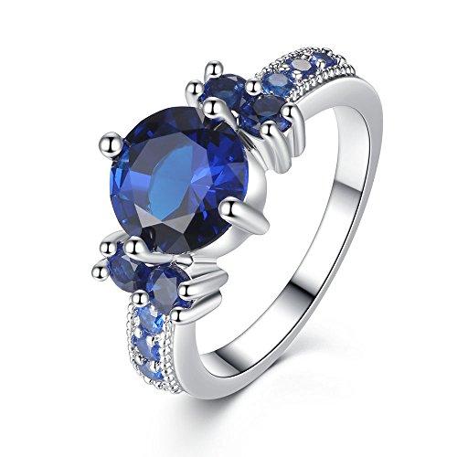ONECK Damen Ring 18K Platin Beschichtet Blaue Kristalle Engagement Ring Hochzeitsringe Valentinstag Geschenk für Frauen Mädchen Freundin Mutter