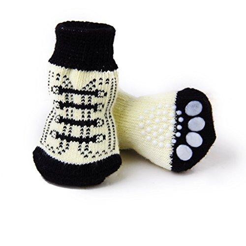 NaiCasy Calcetines Pequeño Pequeño Gato Perro de Perrito del patín con Las Impresiones Lindas de la Pata en Blanco y Negro (S), Accesorios para Perros