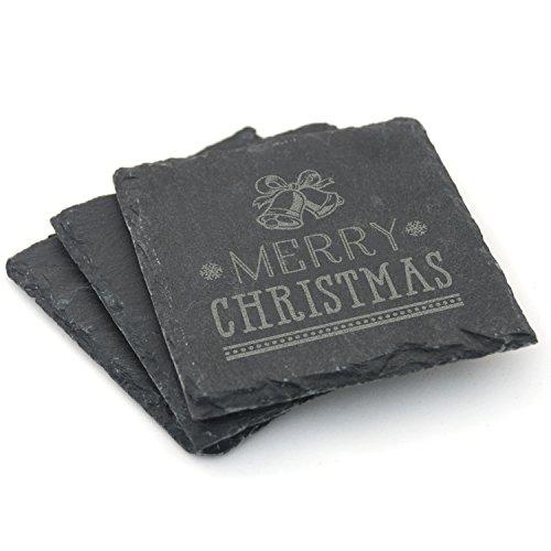 Weihnachten Dekoration Natural Slate Untersetzer-Set von 2/Set von 4-Frohe Weihnachten Glocken Design, 4er-Set