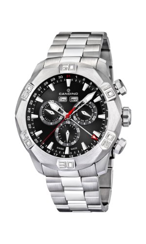 Candino-Mens-Quartz-Watch-with-Black-Dial-Chronograph-Display-and-Silver-Stainless-Steel-Bracelet-C44773