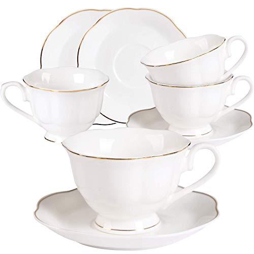 GuangYang 7OZ Cappuccino Tassen Set Porzellan - 220ML Weiß Kaffeetassen mit Untertassen Set Tee Cups mit Gold Rand Geschenk Bone China Teeservice für 4er