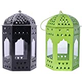 Decorate India Hanging Lantern Tea Light Holder With T Light Candle (Green And Black). Hanging Lanterns For Home Decoration, T Light Holder Hanging Set Of 2 16 Cm