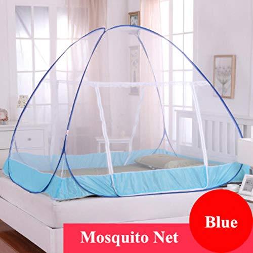 Fimqb zanzarieramongola a dueante per letto matrimoniale per adulti, tenda pieghevole a rete senza installazione, blu cielo, letto da 1,0 m (3,3 piedi)