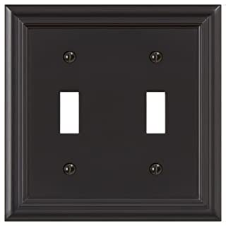 Amerelle 94TTORB Continental Cast Metal Wallplate with 2 Toggle, Oil Rubbed Bronze