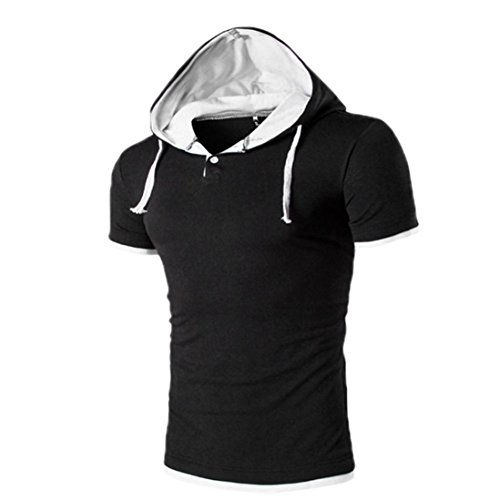 KEERADS Hoodie Herren poloshirt Kurzarm Sommer Mode T-Shirt Grau (Sleeve Hoody Cap)