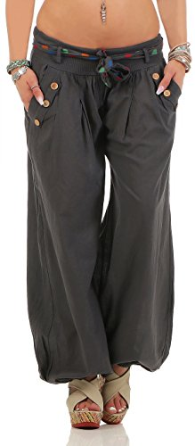 Malito Damen Pumphose in Unifarben | leichte Stoffhose | super Freizeithose für den Strand | Haremshose - lässig 3417 (dunkelgrau)