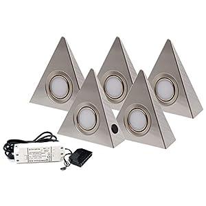 5er Set LED Dreieckleuchte Unterbauleuchte Küchenleuchte Küche LED EDELSTAHL 3x3W Warmweiß 3000K mit Zentralschalter