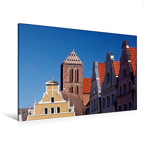 Calvendo Premium Textil-Leinwand 120 cm x 80 cm Quer, Wismar, Krämerstraße | Wandbild, Bild auf...