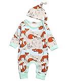 Vawal Neugeborenes Baby Mädchen Fuchs Jumpsuit Strampler Langarm Bodys+Hut Kleidung Outfits (0-3M, Orange)