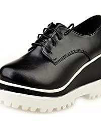 ZQ 2016 Zapatos de mujer - Tacón Robusto - Comfort / Punta Redonda - Oxfords - Exterior / Casual - Semicuero - Negro / Bermellón , black-us6.5-7 / eu37 / uk4.5-5 / cn37 , black-us6.5-7 / eu37 / uk4.5-