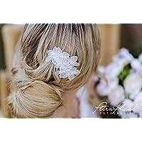 M14 Brauthaarschmuck wedding hairstyles Boho Frisur haircomb Haarkamm ivory Spitze bridal flowers Diadem Tiara Federschmuck R/öschen