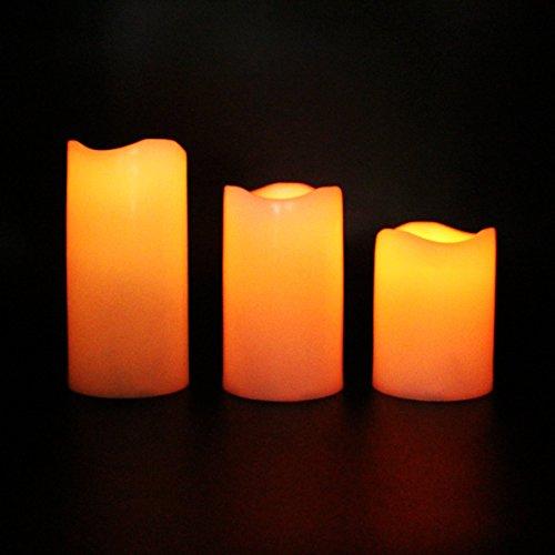 Sin llama velas LED cambia de color mando a distancia y funciona con pilas eléctrico vela con temporizador para Elegant bodas, las partes elegante y impresionante regalos (Set de 3)