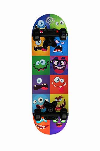 Skatemax Kinder Skateboard Junior 5-10 Jahre, Monster Face