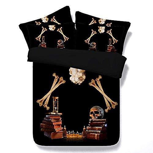 YIWANGO Skull Theme Bettbezug-Sets, 3-teilige Bettwäsche-Sets Mit 2-teiligen Kissen Shams No Tröster,SuperKing(260x225cm3pcs) (Baumwolle Land Tröster)