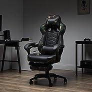 كرسي العاب واستلقاء بتصميم سباق من ريسباون موديل RSP-110-WHT، مصنوع من الجلد ومزود بمسند قدم، بلون ابيض