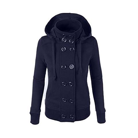 Ouneed® Winter Women Warm Double-breasted Hooded Long Slim Jacket Coat Outwear (tour de poitirne 90cm, Bleu)
