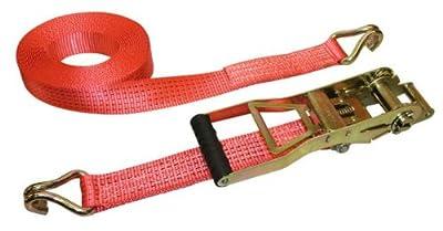 Kerbl 37173 Zurrgurt 2-teilig, 8 m / 50 mm Ergo, 2500 / 5000 kg Langhebelzugratsche, rot