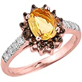 Little Treasures - 14 ct Rose Gold Citrine and Diamond Ladies Ring