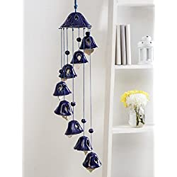 Unravel India Ceramic Blue Bell Wind Chime
