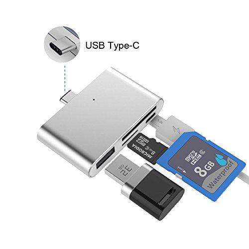 Galleria fotografica Card Reader Usb SD Card Multi Card Reader Memory Card Lightning to USB 2.0 TF Micro Alluminium OTG Adapter USB 3.1 Type C Memory Card Camera Connection for MacBook,MateBook,Chromebook,Windows(Argento)