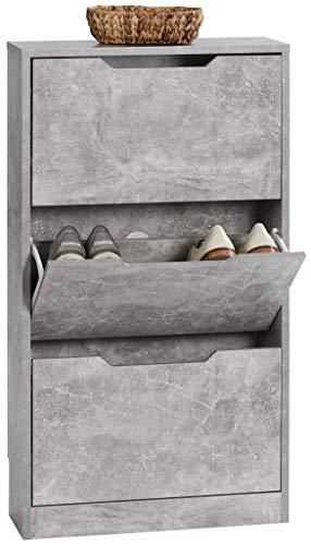 ts-ideen Schuhschrank Regal Schuhkipper Bad Flur Diele Standregal Betonoptik Grau 3 Fächer extra Schmal 108,5 x 60 x 17 cm