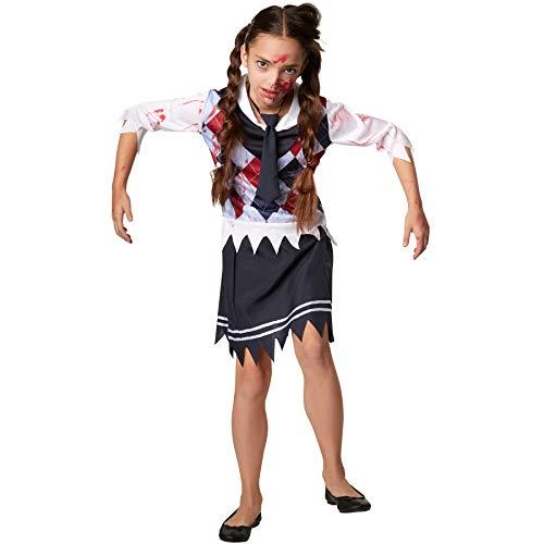 dressforfun 900429 - Mädchenkostüm gruseliges Schulmädchen, Dreiteiliges, schauriges Schulmädchen-Outfit (158 | Nr. 302209)