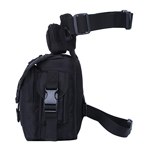 Eshow borsa da gamba marsupio cosciale da uomo di tela trekking escursioni sportivo soft air nero Nero 02