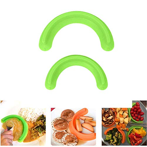 LCLrute 2019 Food Separator -Food Safe Silicone - Portion Control -Food Separator Safe Silicone Cubby Plate Divider Suction Cup Seal 2 Pack (1L &1S) (Green) Portion Control Plate