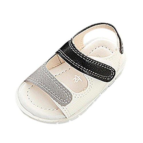Sandalo blu con fascia dorata sul davanti in pelle, modello step up, con chiusura a strappo, bambina, neonata (età: 6-12 mesi, bianca)