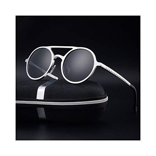 Sport-Sonnenbrillen, Vintage Sonnenbrillen, Brand Design Sunglasses Men Polarisiert Vintage Round Frame Sun Glasses Aluminum Magnesium Alloy Driver Glasses Driving Spiegels silver-gray