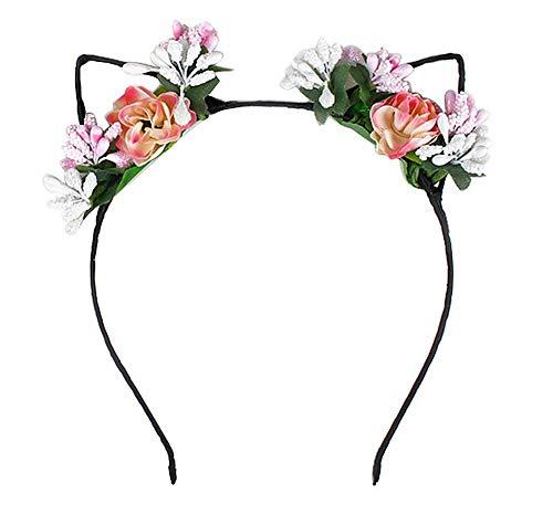 Fansi 1Stück Mädchen Katze Ohr Haarband Sweet Rose Blume Haarband Stirnband Hoop Haarband Cute Party mit Kopfbedeckungen Rose