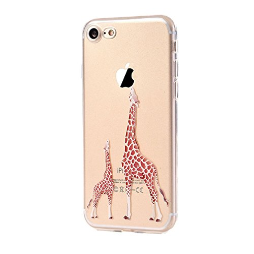 iPhone 7 Case Silicone - Coque Souple Transparente TPU Silicone en Gel Case Premium Ultra-Light Ultra-Mince Skin de Protection Pare-Chocs Anti-Choc Bumper pour Apple iPhone 7 (4.7 pouces) girafe 2