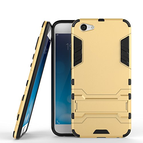 Für VIVO X9 Plus Case 2 In 1 Hybrid Armor Denfender Shockproof Hard Back Cover Dual Layer TPU PC Anti-Kratzer Stoßdämpfung mit Stand ( Color : Blue ) Gold