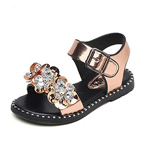 XI-GUA Ragazza Strass Open Toe Cinturino Antiscivolo Sandali Estate Outdoor Soft Suola Piatta Princess Shoes