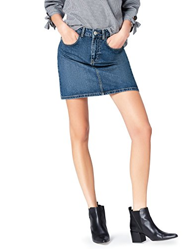 FIND Damen Mini-Jeans-Rock Blau, 40 (Herstellergröße: Large) (Denim-mini Vintage)