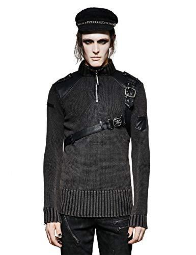 Old Kostüm Vampir Style - Punk Rave Men's Black Steampunk Gothic High Collar Belt Vintage Pullovers Sweater M