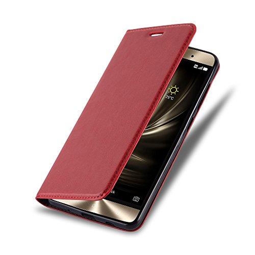 Cadorabo Hülle für ASUS ZenFone 3 Deluxe - Hülle in Apfel ROT – Handyhülle mit Magnetverschluss, Standfunktion und Kartenfach - Case Cover Schutzhülle Etui Tasche Book Klapp Style