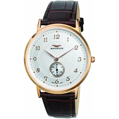 Sandoz 81271-60 - Reloj de caballero de cuarzo, correa de piel color marrón