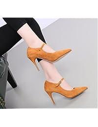 KHSKX-Diamond Moda Le Scarpe Una Nuova Primavera Con Una Bella Mancia Arco Di 10Cm Scarpe Col Tacco Alto Sono Le Scarpe Asakuchi 39 Black