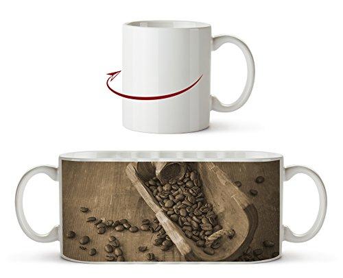 geröstete Kaffeebohnen Effekt: Sepia als Motivetasse 300ml, aus Keramik weiß, wunderbar als...