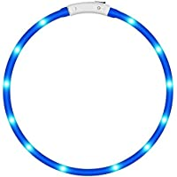 KEKU Pack de 1 collar LED para perro, collar brillante para perro para la seguridad de la noche, tubo de luz de moda parpadeante para perros pequeños y grandes (azul)
