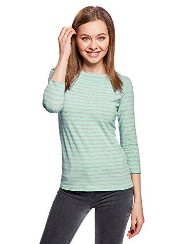 oodji Collection Damen T-Shirt mit 3/4-Arm, Türkis, DE 40/EU 42/L