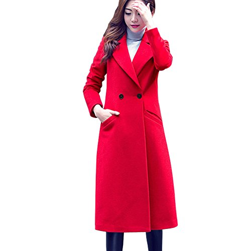 VEMOW Elegante Damen Mode Herbst Winter Lange Wollmantel Parka Lässige Tägliche Outdoors Slim Outwear Strickjacke(Rot, EU-42/CN-3XL)