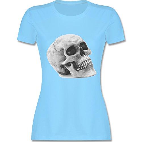 Piraten & Totenkopf - Totenkopf Skull - tailliertes Premium T-Shirt mit Rundhalsausschnitt für Damen Hellblau