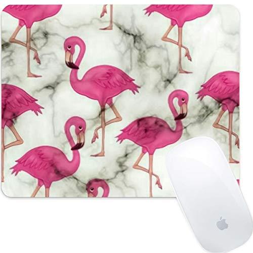 Weneth Rechteckig Mauspad Cooles Gaming Mousepad rutschfest Mausunterlage Gummi Ränder Mauspad für Laptop & Reise-Dunkelroter Flamingo-Marmor -