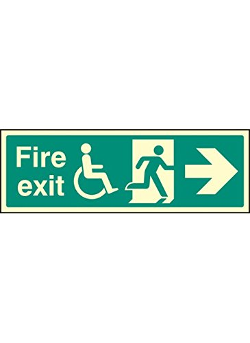 "Caledonia Signs 32089G Schild""Disabled Fire Exit\"", beleuchtet, starr, 300 mm x 100 mm"