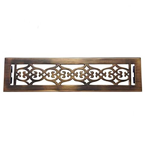 Adonai Hardware Flower Brass Wall And Floor Register with Louver - 2-1/4