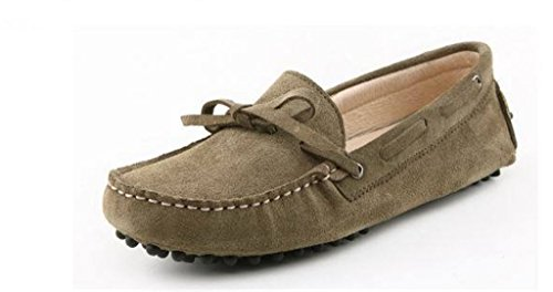 Minitoo Men'neuen Knoten Suede Boat Shoes Slipper Penny Fahren Khaki
