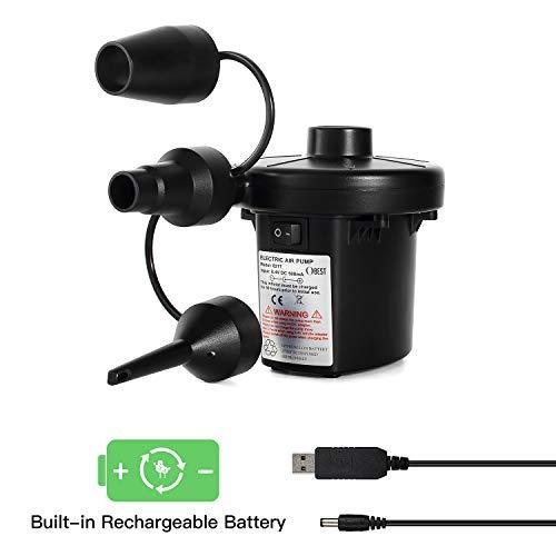 Symbom Elektrische Luftpumpe USB Luftmatratze Pumpe, 2 in 1 elektrische Pumpe Inflator Deflator mit 3 Luftdüse für aufblasbare Matratze, Isomatte, Luftbett, Boot, Schwimmring (USB Adapter: 8.5V)