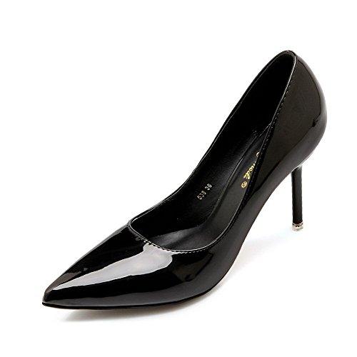 Auf mikrofaser Zehe Aalardom Weiches Spitz Stiletto Material Ziehen Schwarz Pumps Damen Schuhe 74XqT